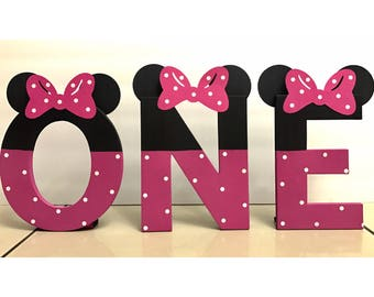 ONE Minnie Mouse Themed Letters (price is per letter) | Minnie Mouse Party | Birthday Photo Prop | Minnie Mouse Birthday Party | Baby Girl