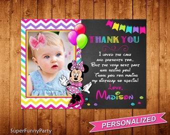 Minnie Mouse Thank You Card, Chalkboard Minnie Mouse Thanks Card, Pink Minnie Mouse Printable,  Personalized, Digital File