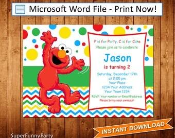 Elmo invitations Etsy