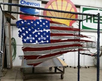 Metal tattered American flag