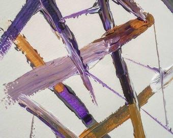 SALE Original Acrylic Painting / Minimalist Colourful Modern Art / Purple Orange Grey Wall Art Original Textured Painting / LittleArtLondon