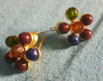 Multi-Colored Gemstone Cluster Earrings