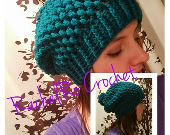 Teal Puff Stitch Slouch Pompom Hat