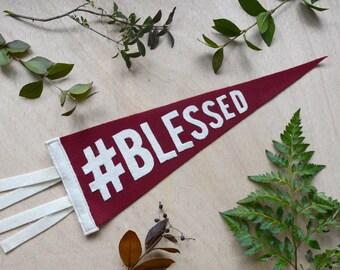 Felt Pennant Flag in Maroon // #Blessed