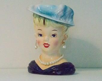 Vintage Lady Head Vase B/R Japan