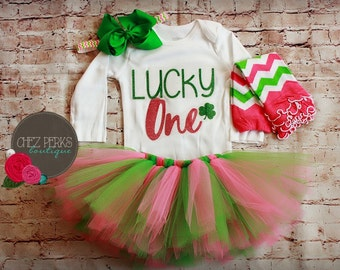 First Birthday Girl Outfit, Miss March Birthday Girl, St. Patrick's Day Birthday Outfit, Baby Girl 1st Birthday Tutu Outfit