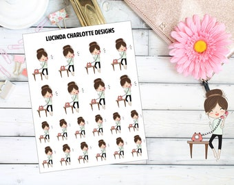 Telephone Call/Text - Brown Hair Girl Character - Planner Stickers