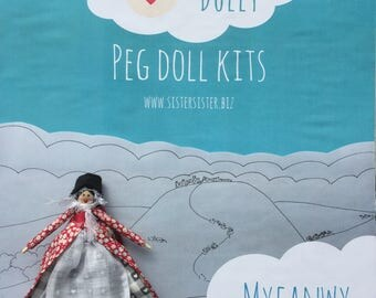 Hello Dolly - Make your own Peg Doll Kit - Myfanwy, Welsh Peg Doll, Gift, Birthday Gift, Traditional Costume