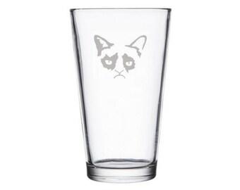 Grumpy Cat pint glass, Grumpy cat nope, grumpy cat birthday gift, internet meme gifts, 4 chan, dank meme gift, Grumpy Cat present, Cat glass