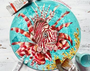 Tropical fish art, tropical fish decor, lionfish under the sea nursery, childrens wall art, kids room art, kids room decor, bathroom wallart