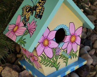 Swallowtail Butterfly hand painted decorative bird house