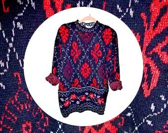 Vintage 1980s sparkley red white and black jumper