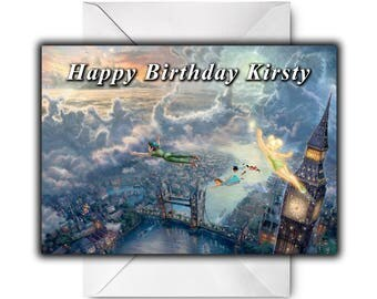 PETER PAN And TINKERBELL by Thomas Kinkade Personalised Birthday / Christmas / Greetings Card - Disney Dreams Collection
