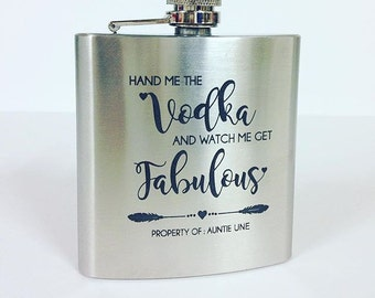 Personalised hip flask, engraved hip flask, gift for her, gift for bridesmaid, brushed stainless steel, birthday gift