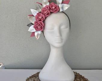 Ladies pink, silver & pewter leather crown headband fascinator