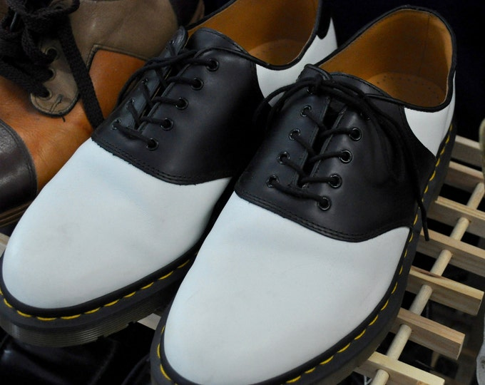 Men's Doc Marten Black and White Saddle Shoes Sz 12