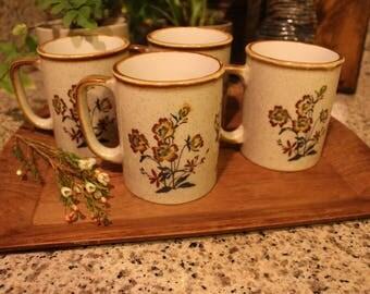 Vintage Floral Ceramic Mugs Set of 4