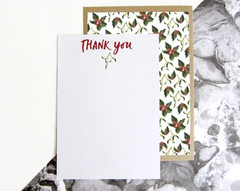 Mistletoe & Holly Pattern Thank You Postcards