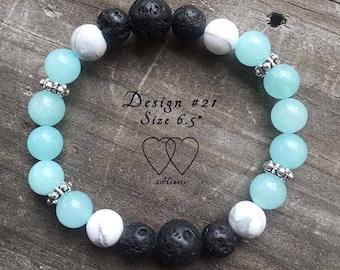Design #21, Amazonite and Howlite Lava Bracelet, Diffuser Bracelet, Gemstone Bracelet