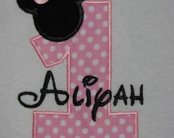 First Birthday Minnie Mouse Shirt. Light Pink Dots Minnie Mouse Head Shirt. Girl's 1st Birthday Minnie Mouse Shirt. Personalized Birthday.