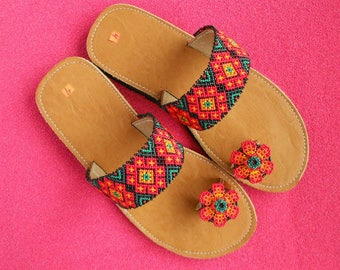 Huichol Beaded Flower Sandals/ Leather Flower Sandals Women/ Beaded Shoes/ Native Beadwork/ Mexican Folk Art