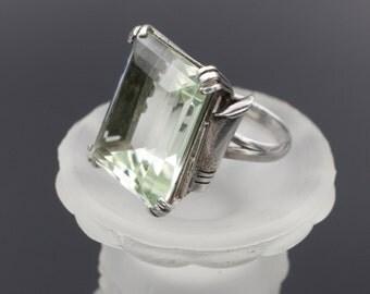 HUGE Retro Modern Ring, 10K White Gold Prasiolite Ring, 1950's Gold Ring, 1950's Retro Modern Jewelry, 1950's Gold Ring, Green Amethyst Ring