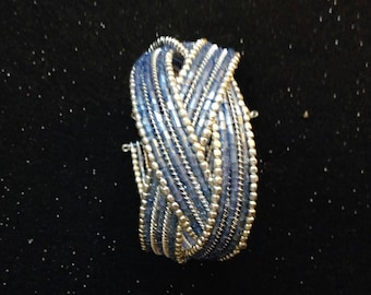Delicately Beaded Blue and Silver Bangle
