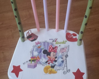 Minnie Mouse/Daisy Duck Antique Wood Kids Chair