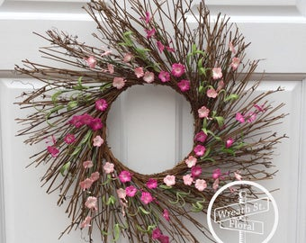 Twig Wreath, Summer Wreath, Front Door Wreath, Year Round Wreath, All Season Wreath, Wreath Street Floral, Everyday Wreath, Spring Wreath