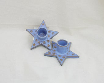 Pair Blue Stoneware Candle Holders  - Pagan - witchcraft - wicca - vintage - decorative - gift