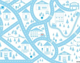 Blue personalised city car mat