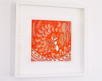 Daniel Fox in orange, limited edition linocut print