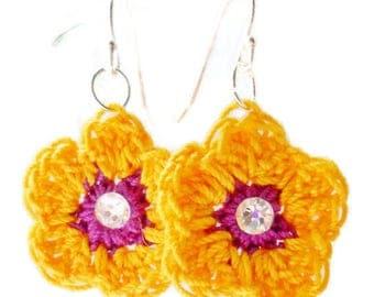 Earrings/Sterling Silver Ear Wires/Yellow Crocheted Flower Earrings with Swarovski Elements Crystal Cabochons/Girls Jewelry
