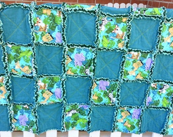 Cute Zoo Animals Rag Quilt 57x38, little boys quilt, flannel