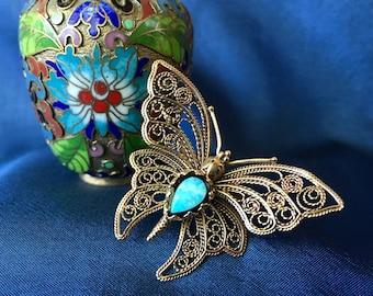 Vintage Gold Tone Filigree Butterfly Brooch, Butterfly Pin, Butterfly Brooch, Vintage Butterfly Jewelry