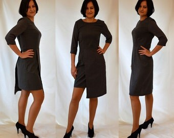 Dark grey, elegant, wool, woven, asymmetrical, shift dress Size UK 12 / US 8