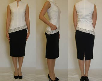 SALE! Asymmetrical pencil dress, white, ivory, navy, with front pocket and lace trim. Sizes UK 10, 12, 14 / US 6, 8, 10