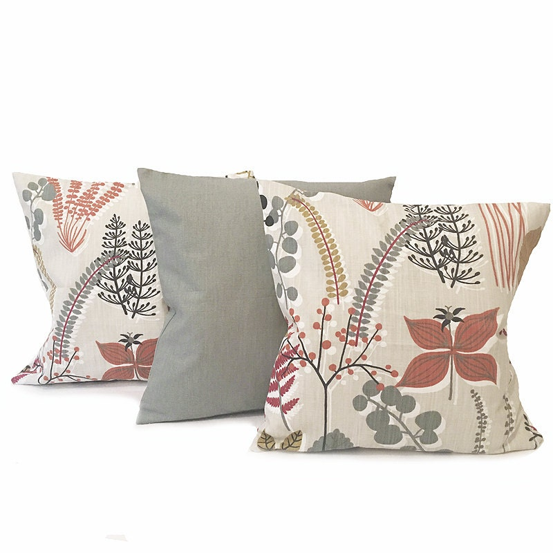Cushion Set Red And Grey 3 Scandinavian Cushions Red