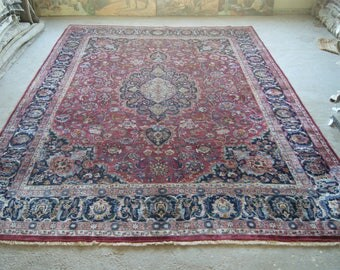 9'8''x12'10'' Antique Persian Rug, Large Red Carpet, Vintage Mashhad Rug, Handmade Rug, Floral Carpet, Large Rug, Area Rug, 10x13 Carpet
