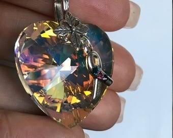 Thyroid Cancer Awareness Swarovski 28mm Heart Charm Pendent