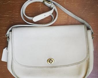 1990's Coach crossbody shoulder bag - ivory
