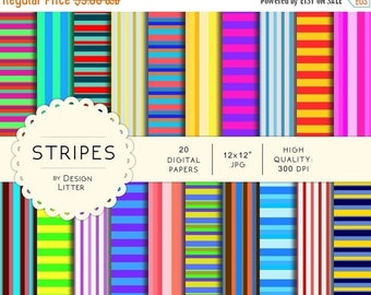 80% Until New Year - Stripes and lines colorful digital papers · multicolor stripes colors backgrounds for scrapbooking · Instant download