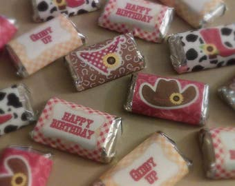 Giddy Up Cowgirl Miniature Candy Bar Wrappers