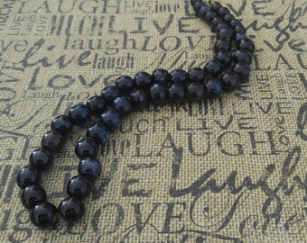 Dark Blue Beaded Necklace