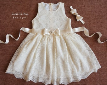 Ivory Flower Girl Dress, Flower Girl Dress, Ivory Lace Girl Dress, Ivory Flower Girl, Junior Bridesmaid Dress, Rustic Flower Girl Dress