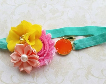 Peach headband - baby peach headband - spring peach headband - summer peach headband - baby girl gift - baby shower gift - foodie headband