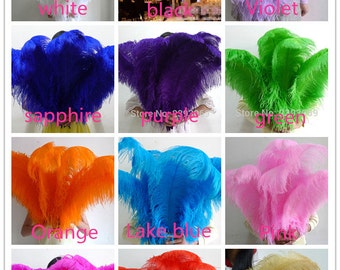 50 pcs 12 colors select high quality natural ostrich 30-32 inches / 75-80cm, beautiful ostrich feathers wedding care center
