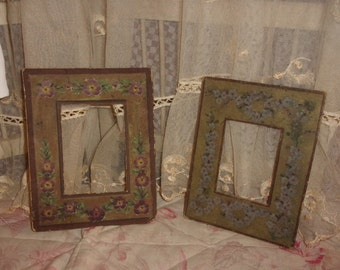 """2 rare """"Marie-Louise"""" old painted hand, flowers, frames"""