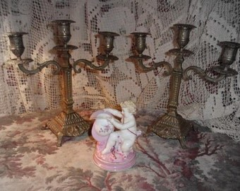 A pair of vintage candelabra, candlesticks, vintage, shabby