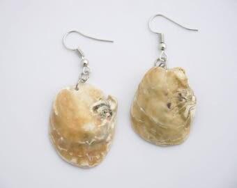 Earrings Oysters, Natural Earrings, Natural Jewelry, Seashells Earrings, Beach Earrings, Boho,  Natural shell earrings, nautical earrings